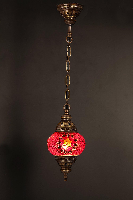 (Height: 7.1 in) Mosaic Chandelier Set 1 Single Globe, Handmade Authentic Tiffany Lighting Moroccan Lamp Glass Stunning Bedside Night Lights Brass&Glass Ottoman Turkish Style