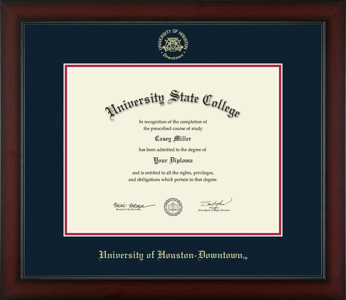 University of Houston Downtown - Officially Licensed - Gold Embossed Diploma Frame - Diploma Size 14'' x 11''