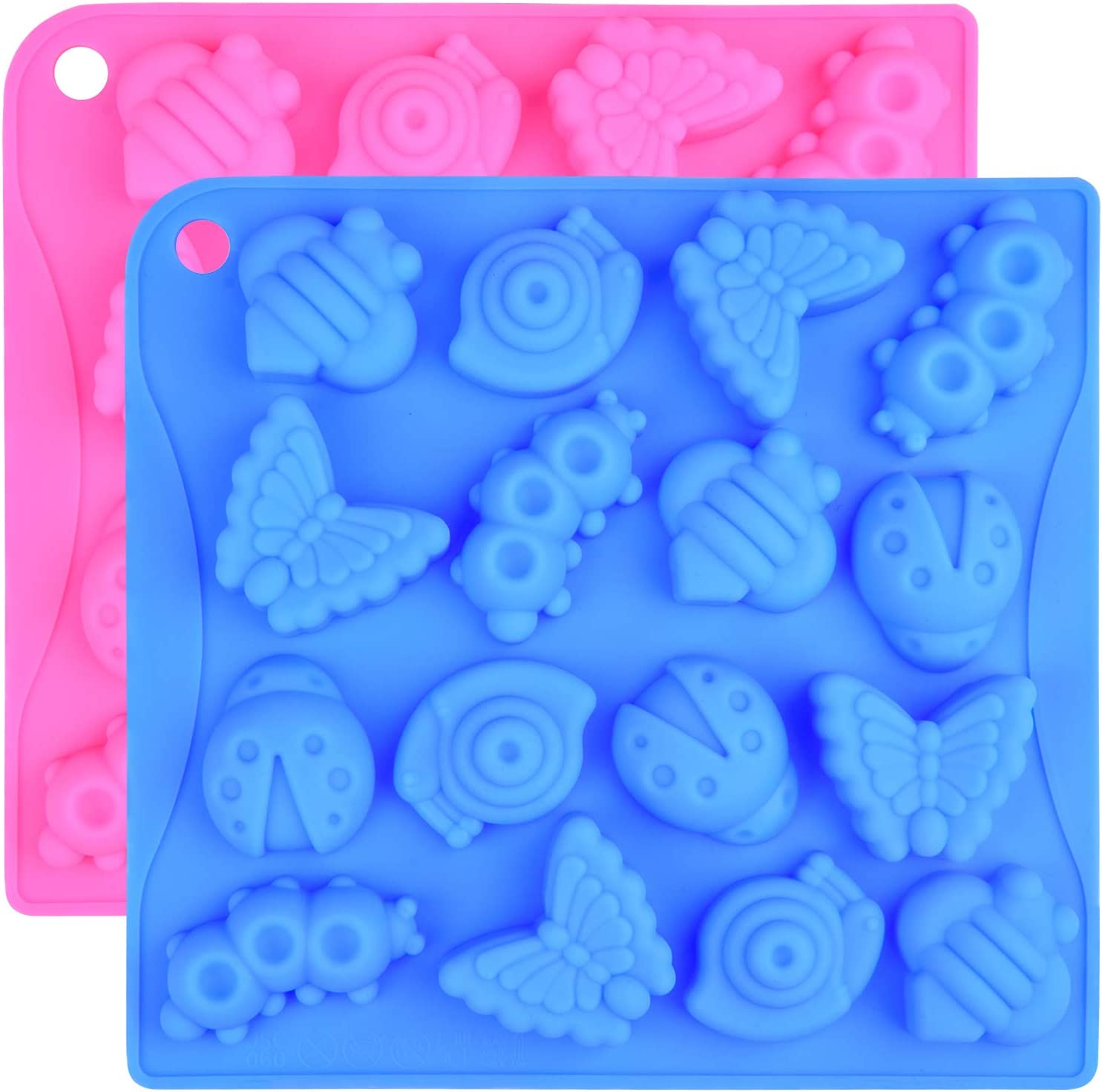 Ancefine 2 Pack 16-Cavity Insect Silicone Molds Butterfly Snail Ladybug Bee Bug Mold for Chocolate Candy Jello Crayon Cute Mini Soap Mould Ice Cube Tray