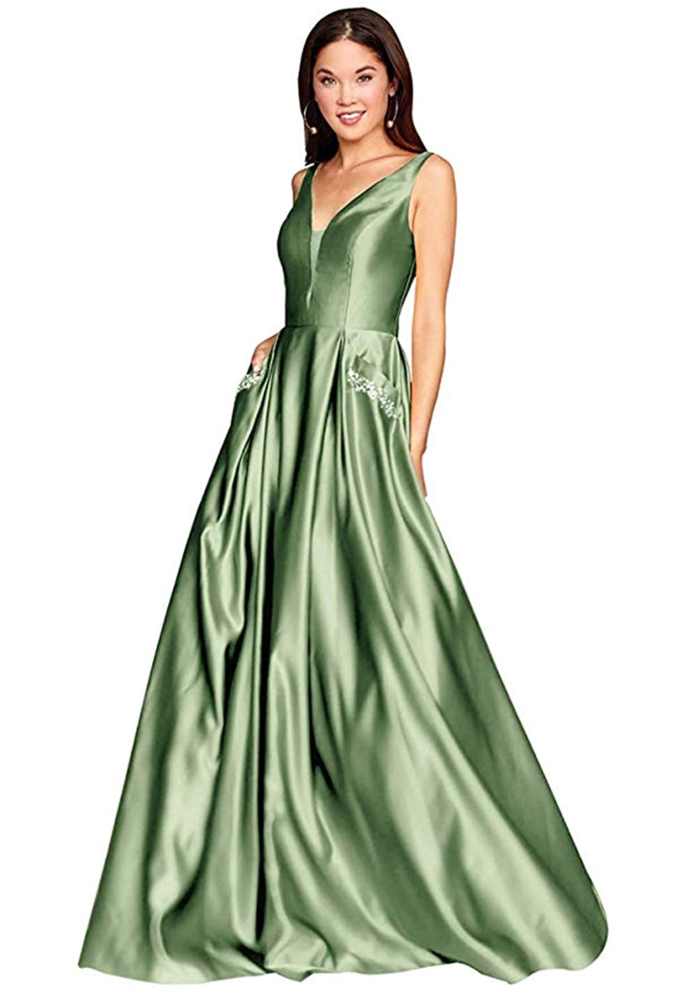 01sagegreen PROMNOVAS Women's V Neck Backless Beaded Satin Prom Dress Long Formal Evening Gown with Pockets