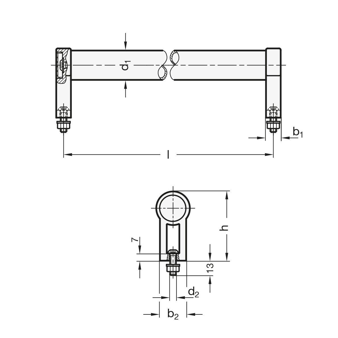 naturfarben Durchmesser: 28mm Rohrgriffe GN 333.1-28-600-B-EL Form B Ganter Normelemente eloxiert Aluminium 1 St/ück