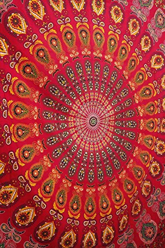 Red Peacock Mandala Tapestry Dorm Decor Hippie Wall Hanging Tapestries Bedding Bohemian Throw Bedspread Bed Cover Hippie Wall Tapestry Picnic Blanket Beach Towel by Jaipur Handloom by Jaipur Handloom (Image #3)