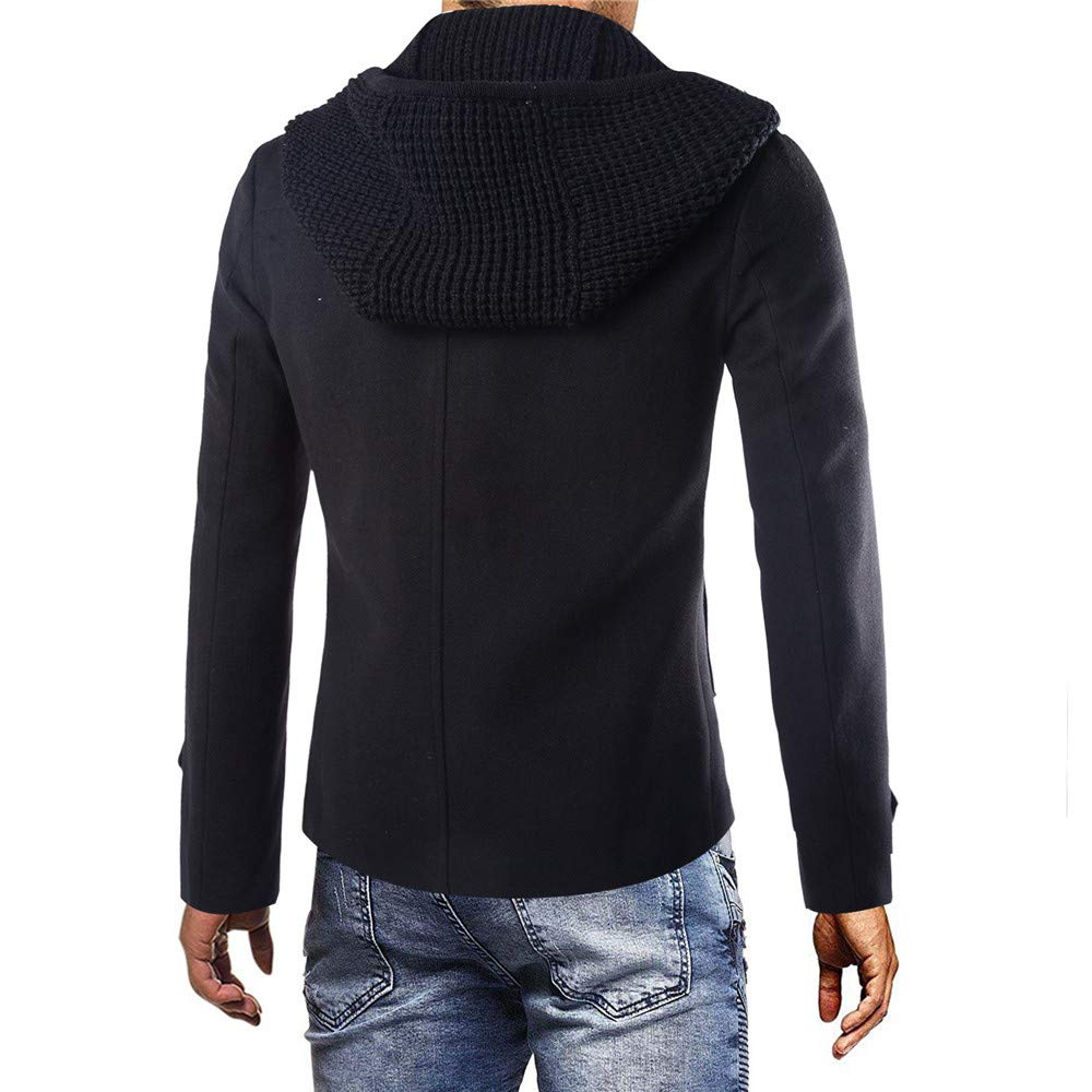 G-Real Mens Gentle Layered Collar Single Breasted Quilted Lined Wool Blend Pea Coats