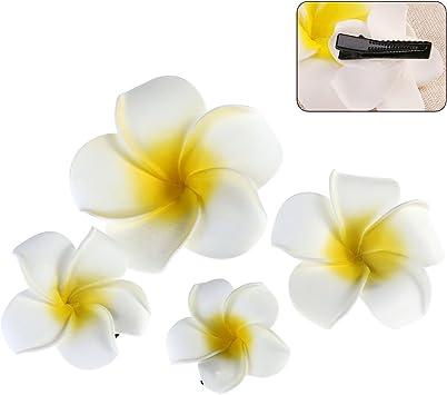 Hawaiian Orchid Foam Flower Hair CLIP White Hot Pink  Wedding Bridal Luau Prom