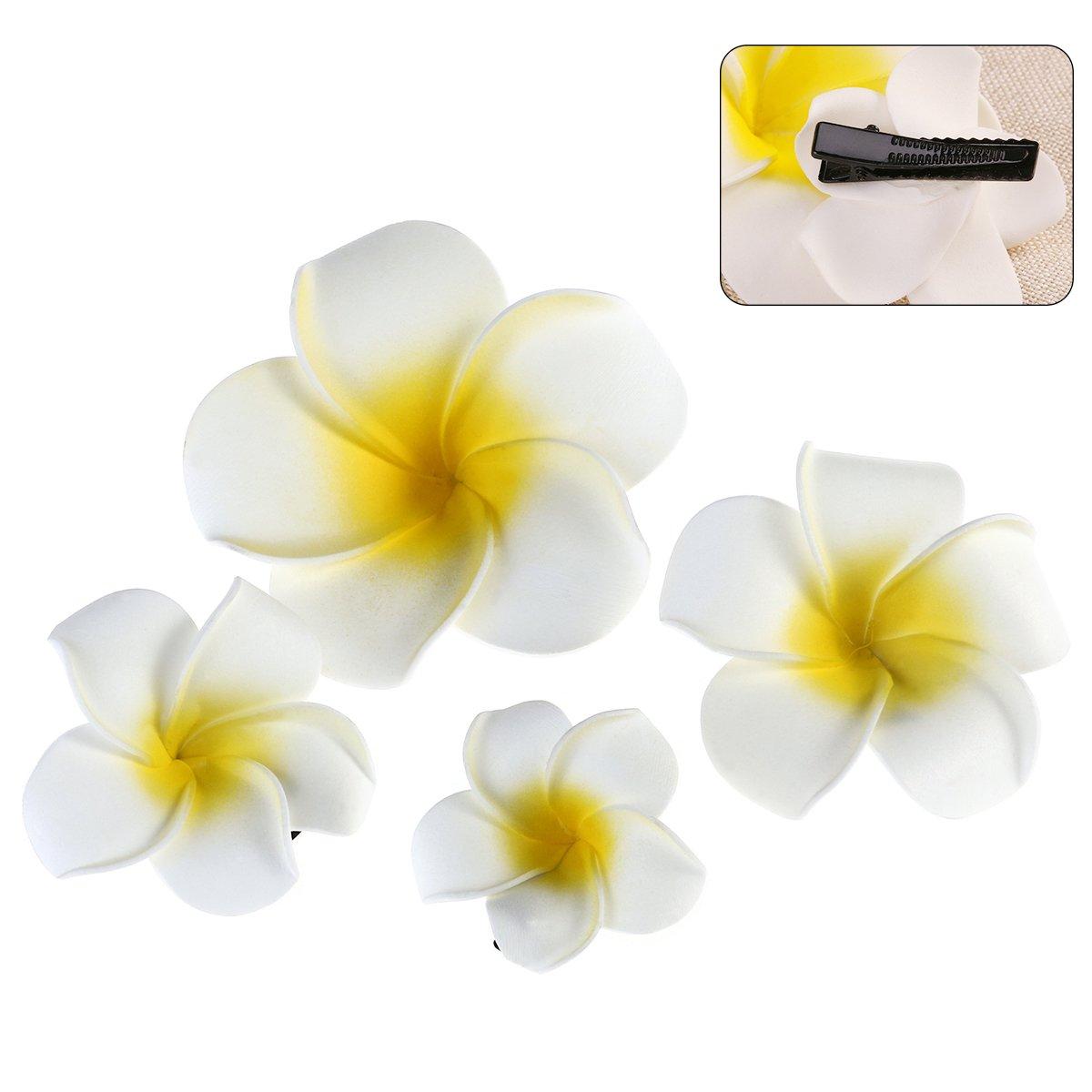 Tinksky Lot de 4 pinces à cheveux en forme de fleur hawaïenne Accessoires de coiffure pour plage et mariage