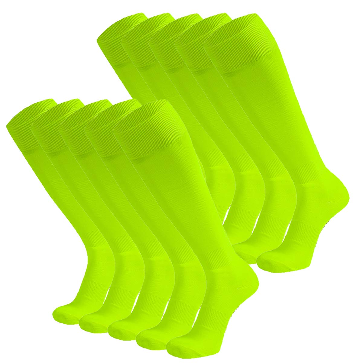 Dsource Unisex Soccer Socks Knee High Solid Baseball Football Sports Team Socks 10 Pairs Fluorescent Yellow by Dsource