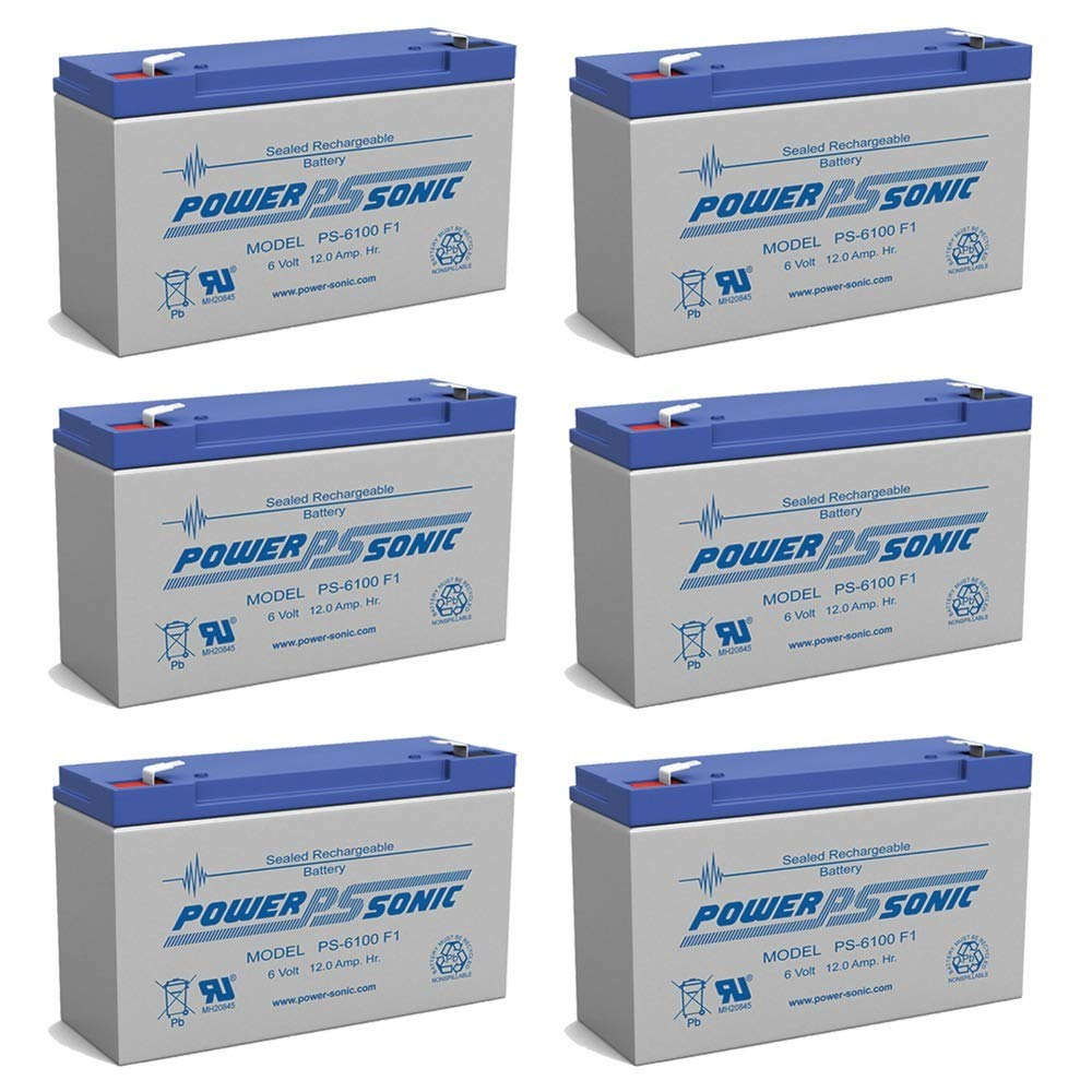 PS-6100 6V 12AH F1 Rechargeable Battery - 6 Pack by Power-Sonic
