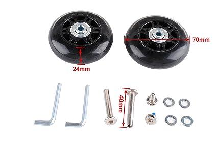 20c398361041 Femitu / 2 Set Luggage Suitcase Replacement Wheels Axles Wrench Deluxe  Repair 70x24mm,