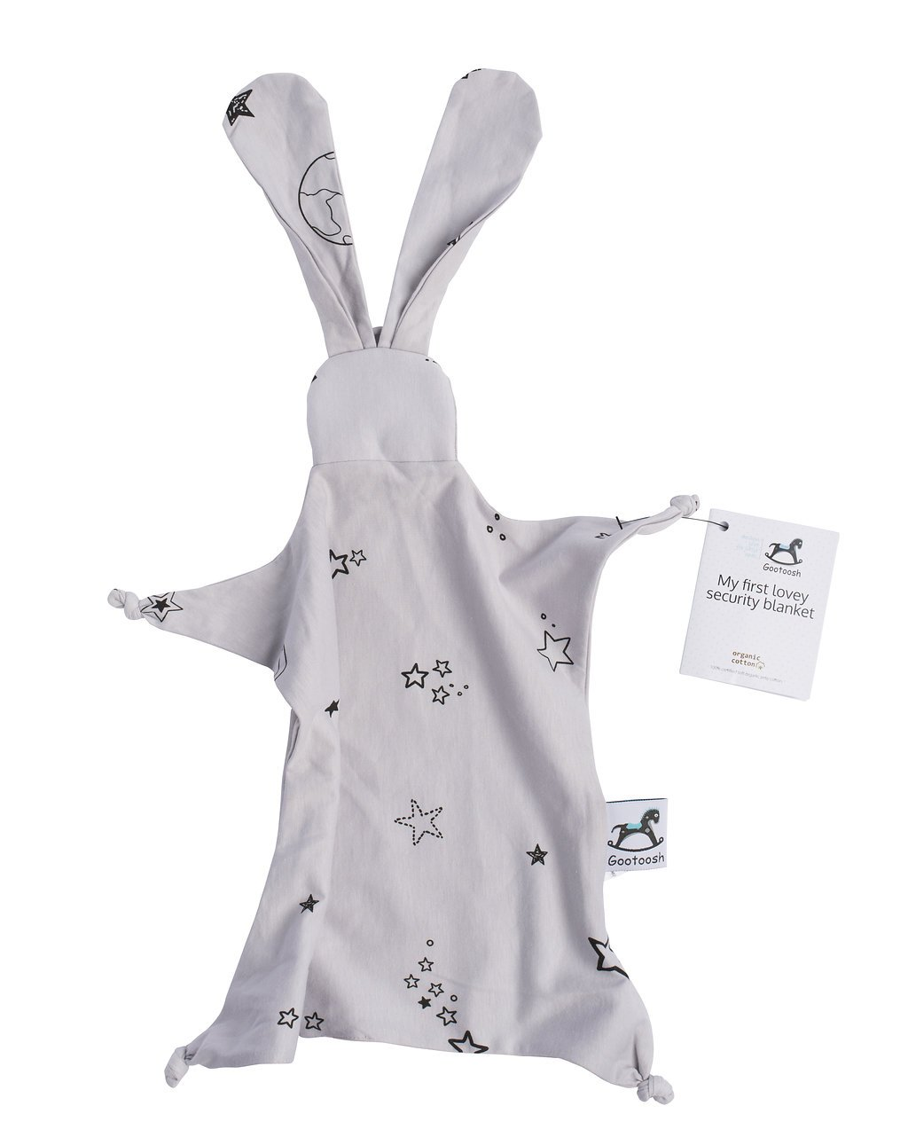 Bunny Security Blanket Lovey Blanket Made from Organic Cotton with Stars Print or Origami,Baby Gift Pink Baby Shower