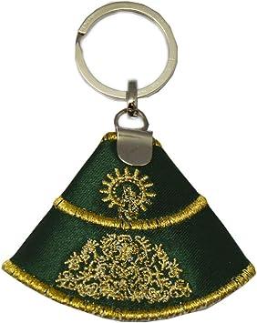 Capote Seda Virgen del Pilar. Llavero 9,5 CM. Verde con Bordado Color Oro.: Amazon.es: Equipaje