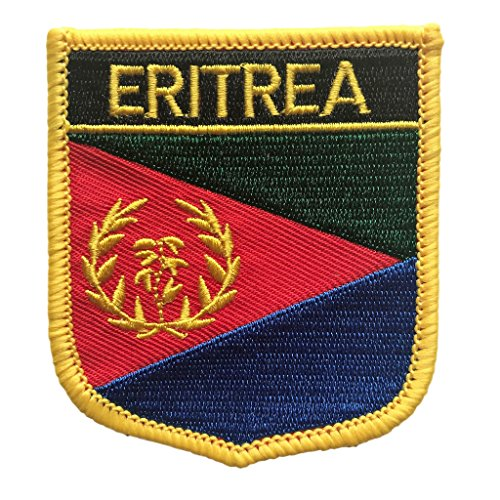 Eritrea Flag Shield Travel Patch   International Crest Iron On Badge By Backwoods Barnaby  Eritrea Crest  2 75  X 2 35