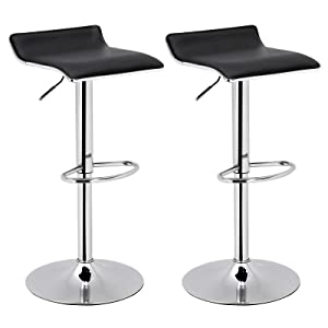 SONGMICS Set of 2 Adjustable Bar Swivel Kitchen Breakfast Counter Stools, Modern Hydraulic PU Barstools, Black ULJB62BK