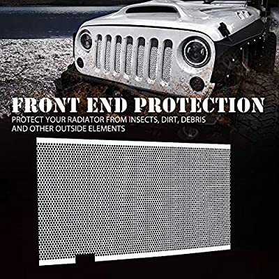 Xprite White Stainless Steel Grill Mesh Inserts Original Front Hood Matte Grille Grid For 2007-2020 Jeep Wrangler JK JKU: Automotive