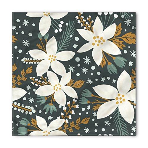 - Ambesonne Unisex Bandana, Floral Poinsettia Blossoms Art, Caramel White