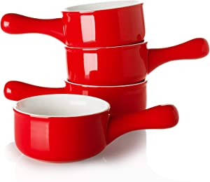 Sweese 109.104 Porcelain Onion Soup Bowls with Handles - 15 Ounce for Soup, Cereal, Stew, Chill, Set of 4, Red