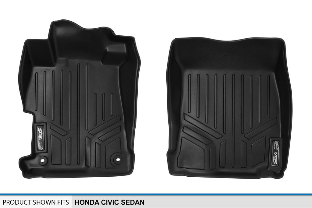 SMARTLINER Floor Mats 1st Row Liner Set Black for 2012-2015 Honda Civic Sedan No EX or Si Models Maxliner USA A0137