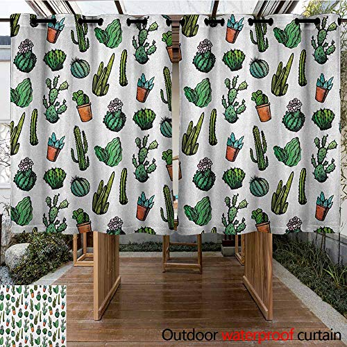 AndyTours Outdoor Window Curtains,Cactus,Sketchy Spiked Mexican Garden Foliage Boho Hand Drawn Style Line Art Cacti in Pots,Simple Stylish,K183C160 Multicolor