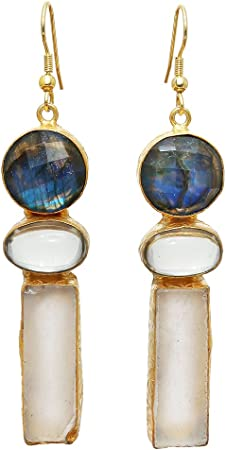 Raw Stone Earrings Labradorite Threader Earrings Raw Crystal Earrings Gemstone Earrings Gift for Her