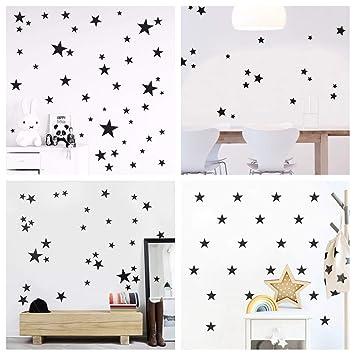 WandSticker4u®- 60 étoiles à coller noir/ argenté/ doré Sticker mural Ciel  étoilé Décoration Murale Autocollant décoratif pour chambre bébé Chambre ...