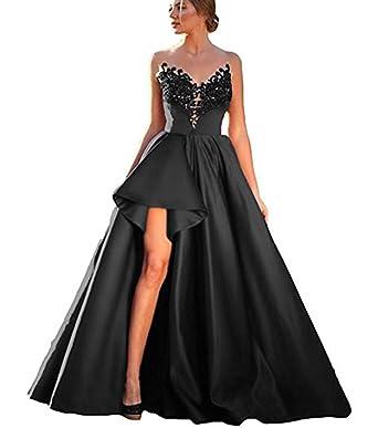 SDRESS Women s Illusion Scoop Neck Lace Appliques High Low Prom Dress  Evening Party Dress Black Size 95132aca0