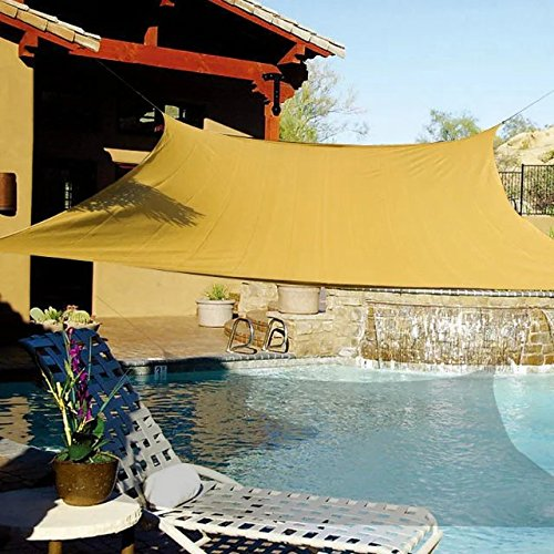 e.share 20' X 20' Sun Shade Sail Uv Top Outdoor Canopy Patio Lawn Square Desert Sand UV Block for Outdoor Facility and Activities for Patio Backyard
