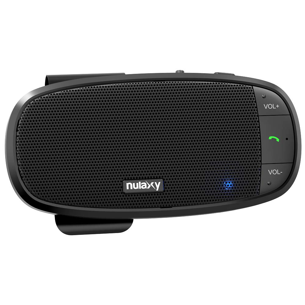 Nulaxy Car Bluetooth Speakerphone, Loud Speaker Bluetooth Hands Free Car Kit Supports Siri Google Assistant, Motion AUTO ON, 2 Phones Simultaneously, Wireless in Car Handsfree Speaker with Visor Clip by Nulaxy