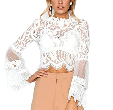 ae03296884a Women Sexy Floral Lace Cover Ups Girl Sheer Long Bell Sleeve Crop Tops  O-Neck Pullover Tops