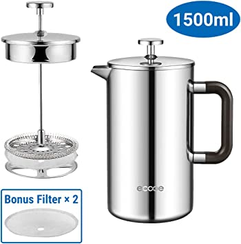 Ecooe 1.5L French Press Kaffee Doppelwandiger Kaffeebereiter aus 18//10...