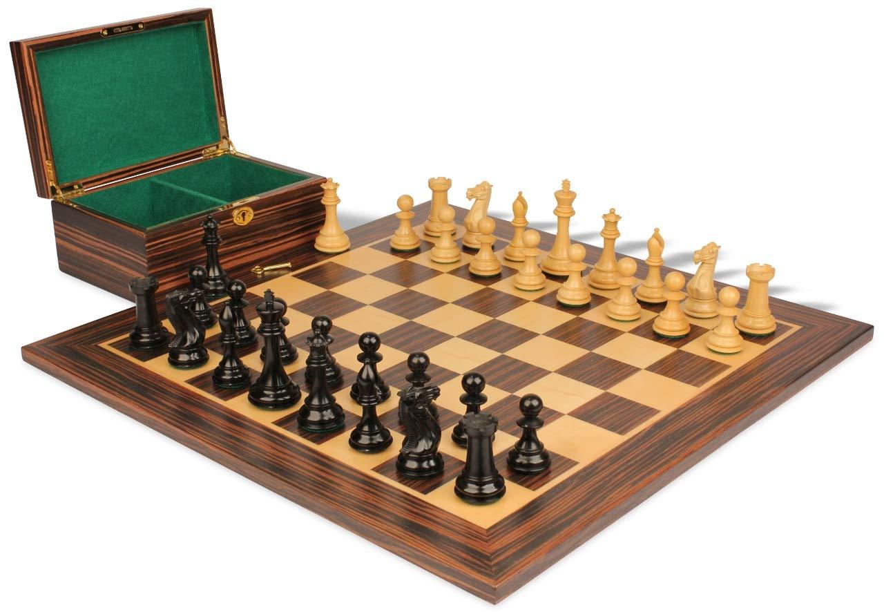 特別セーフ 新しいExclusive Stauntonチェスセットin Ebonized Boxwood & Boxwood & with Boxwood Macassar Ebonyボード&ボックス B077WLTFR3 – 3