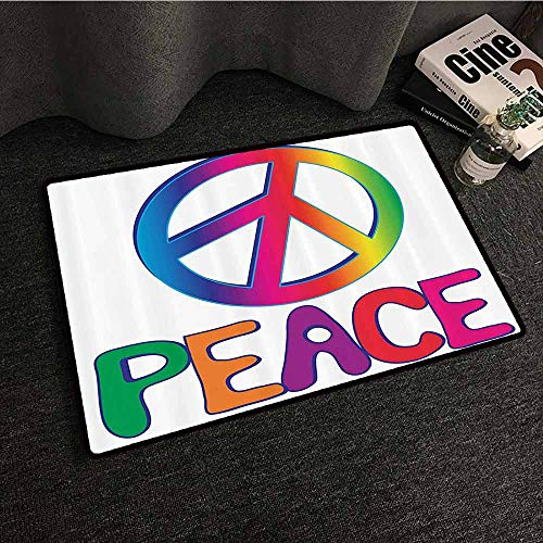 (1960s Decorations Collection Modern Door mat Peace Text with Peace Sign Type Line Love Political Hippie Groovy Artistic Clipart Image Breathability W20 xL31 Pink Blue )