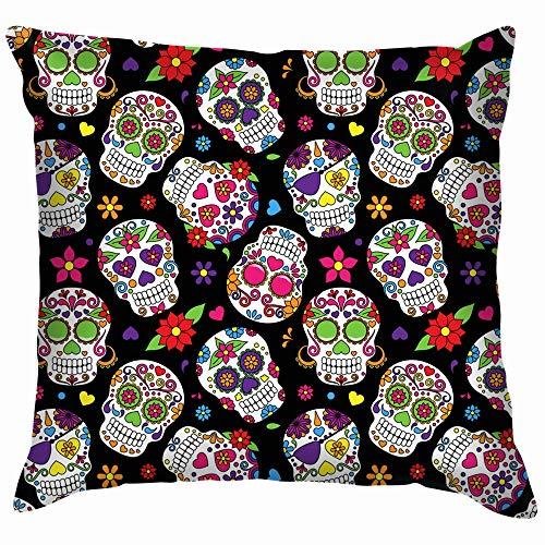 Day Dead Sugar Skull Religion Throw Pillow Case Cushion Cover Pillowcase Watercolor for Couch 16X16 -