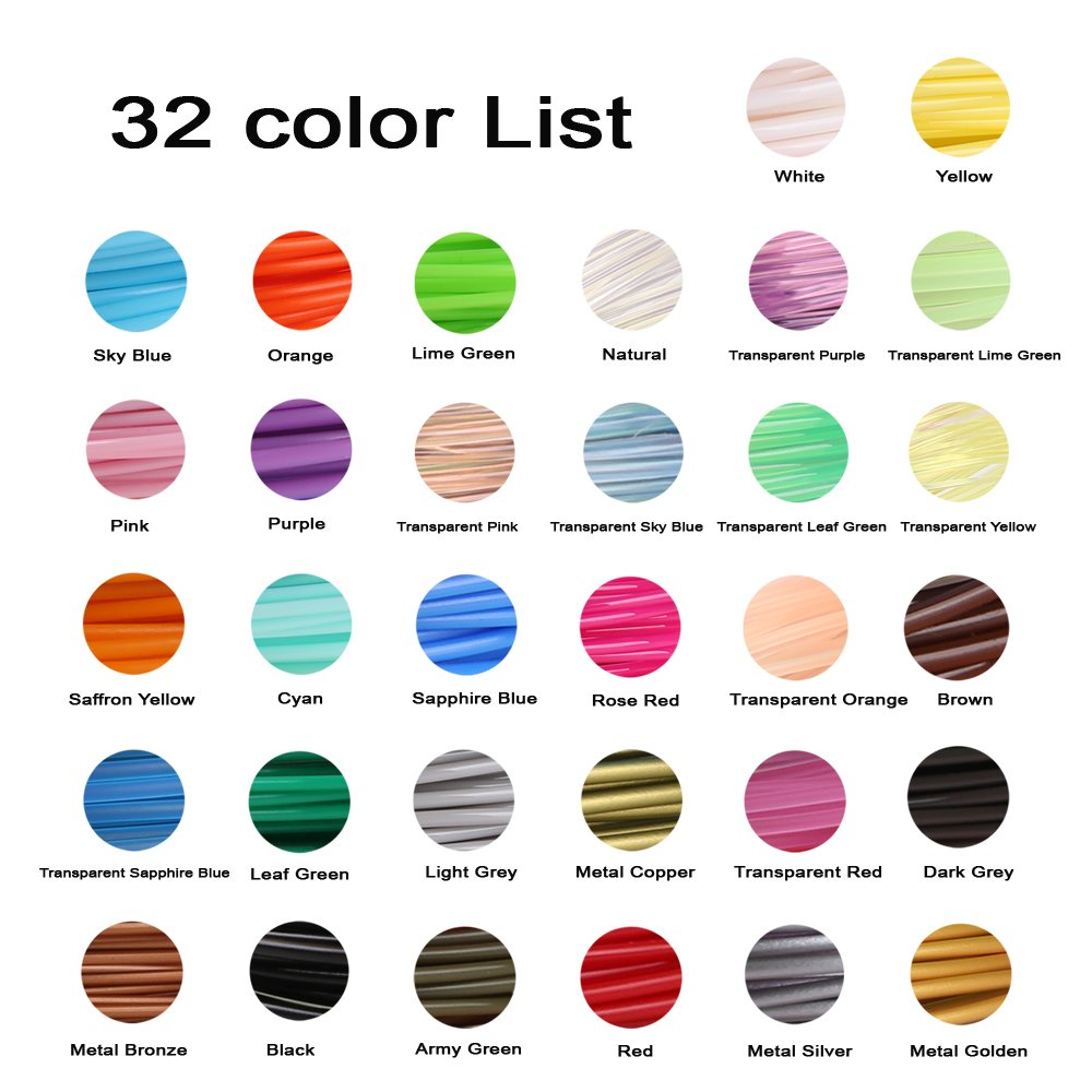 32 Colors 3D Pen PLA Filament Refills Each Color 10 Feet Total 320 feet Pack with 4 Finger Caps by Mika3D