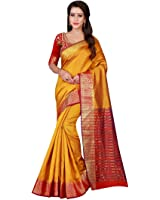 Craftsvilla Women's Cotton Silk Zari Border Traditional Yellow Red Saree with blouse piece