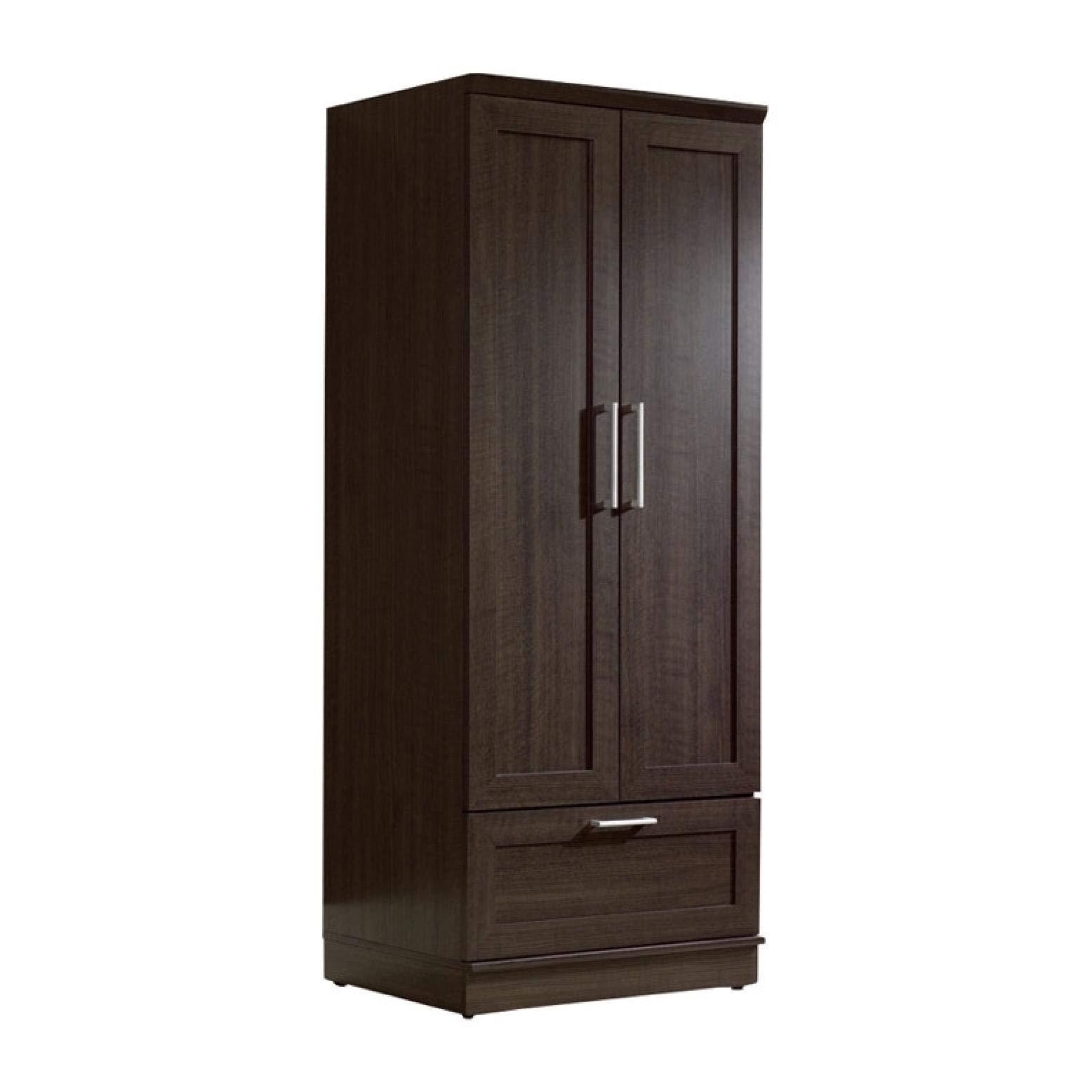 Dark Brown Wood Wardrobe Cabinet Armoire with Garment Rod, Dark Brown Wood Wardrobe Cabinet Armoire with Garment Rod by HEATAPPLY