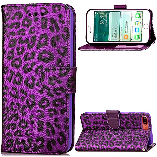 Iphone 7 plus case,Iphone 8 Plus phone case,with PU Leather Luxury Leopard Pattern Wallet Flip Case Card Slots With Magnetic Closure Wallet Case for Iphone 7 Plus Iphone 8 Plus (purple)