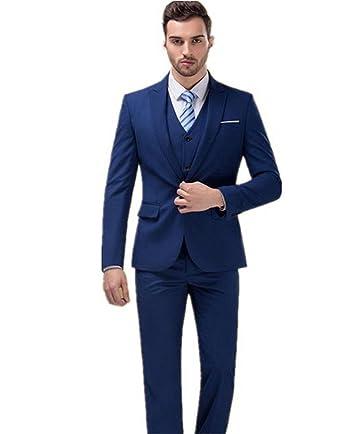 9886b1f326a XGSD Men s Suits 3 Piece Jacket Pants Vest Formal Slim Fit Fashion Business Suits  Groom Bestman Suits for Wedding at Amazon Men s Clothing store
