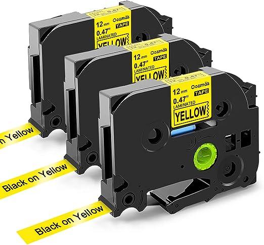 UniPlus 4x Kompatible Schriftband als Ersatz f/ür Brother P-Touch Tze-631 TZe631 Laminiertes Etikettenband f/ür Brother P-Touch Cube PT D600VP H101C 1000 E110 H75 H105 12mm x 8m Schwarz auf Gelb