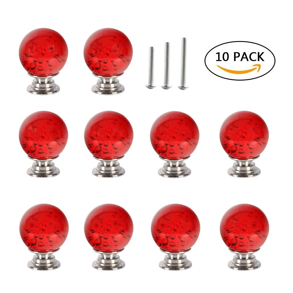 10PCS Cupboard Door Drawer Knobs,Yishik Crystal Knobs for Wardrobes Cabinet with 3 Length Screws for Furniture Kitchen Home Decorating
