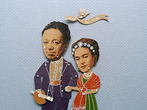 Frida Kahlo and Diego Rivera articulated paper dolls, hand painted Mexican artists puppet with movable parts
