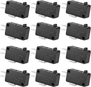 12PAack 125V/250V 16A SPDT Snap Action Button Micro Limit Switch for Microwave Oven Door Arcade KW3 by MXRS