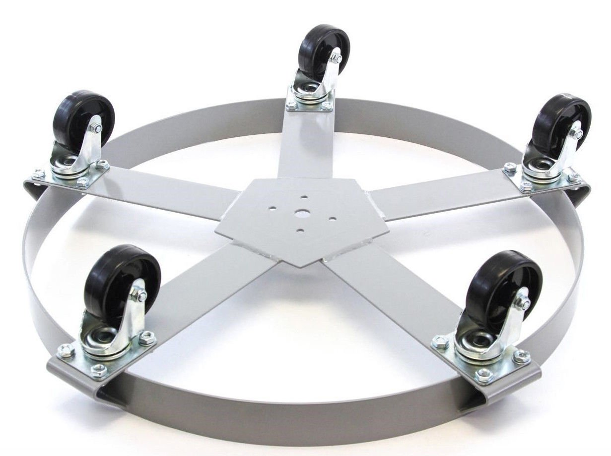 3 Drum Dolly 55 Gal 5 Wheel Swivel Casters Heavy Steel Frame Easy Roll 1250 lbs