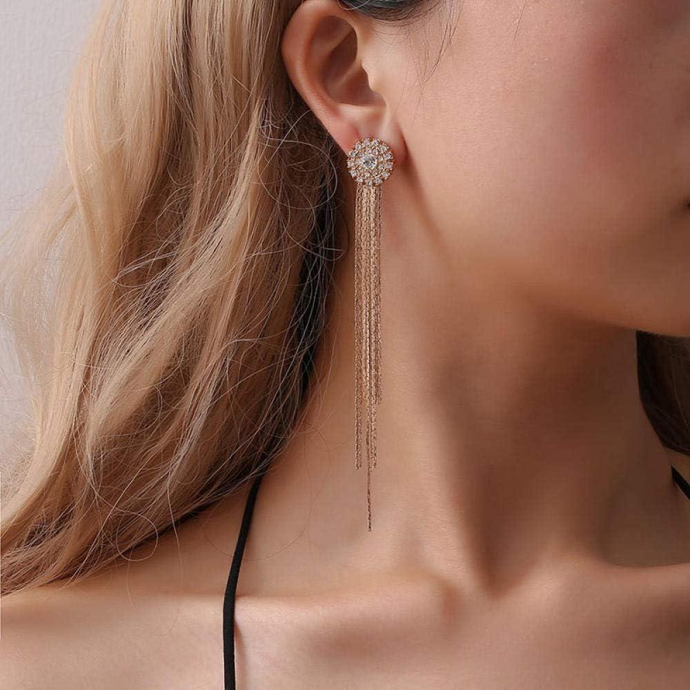 ZIXIYAWEI Pendientes para Mujer Pendientes Colgantes Largos De Piedra De Gema Colgada Chapada En Oro Rosa para Mujer Pendiente De Borla De Cadena De Serpiente con Encanto De Perla Barroca