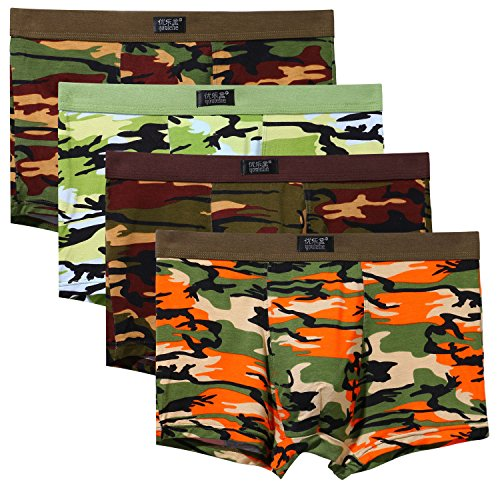 Youlehe Men's Underwear Soft Bamboo Boxer Briefs Stretch Trunks Pack (Small, Camouflage)