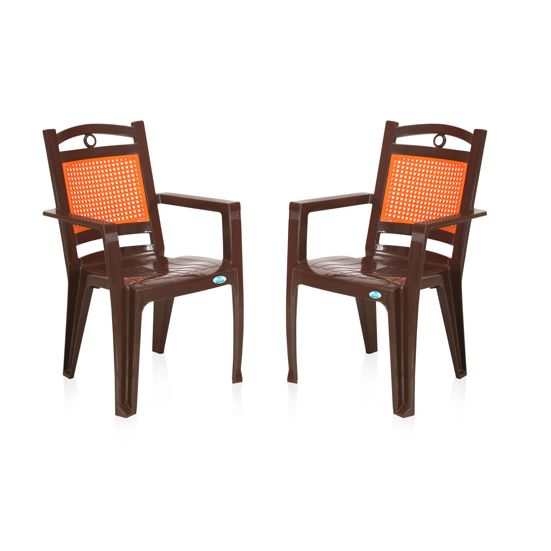Nilkamal Set of 7 CHR7197 Plastic Chair, Brown and King Orange