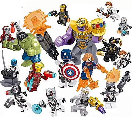 Super Heroes Set, 16 Pieces Minifigures, Fighting with Accessories, Building Blocks Action Figures Toy, Kids Gift zttt ()