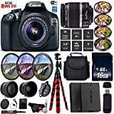 Canon EOS Rebel T6 DSLR Camera with 18-55mm is II Lens + UV FLD CPL Filter Kit + 4 PC Macro Kit + Wide Angle & Telephoto Lens + Camera Case + Tripod + Card Reader - International Version