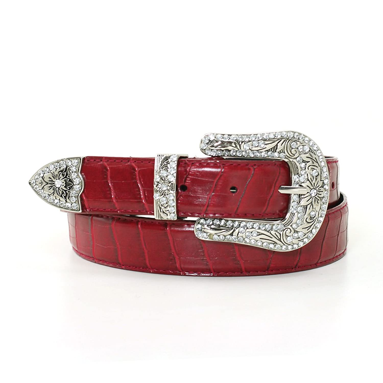 "1 1/8"" Women's Floral Embellished Silver Buckle on Quality Croc Leather Belt Strap"