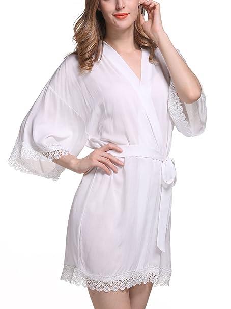 Feoya - Kimono Pijamas Mujer con 3/4 Mangas Encaje Color Puro Pijama Bata Albornoz