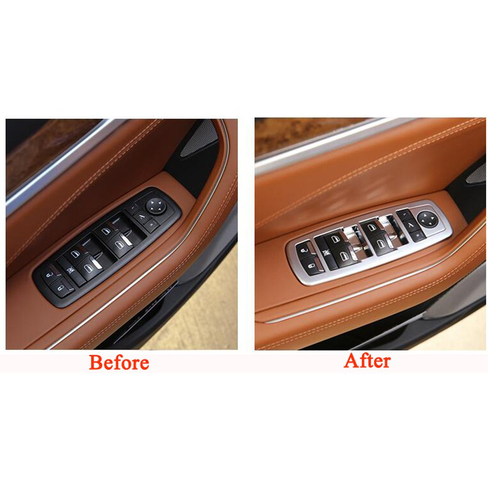 Rqing For Maserati Levante 2016 2017 2018 2019 Interior 4 Doors Window Switch Plate Cover Trims Silver Paint