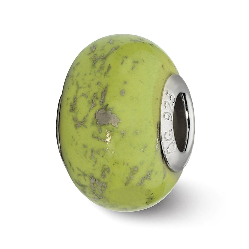 Sterling Silver Polished Antique finish Reflections Green With Platinum Foil Ceramic Bead Charm